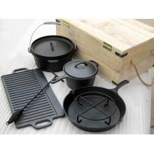 Vegetable Oil Cast Iron Cookware Camping Set with Wooden
