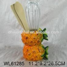 2015 neuer Ananasentwurf keramischer Utensilienhalter