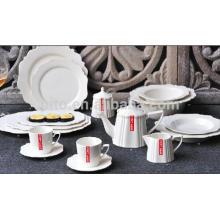 P & T porcelana fábrica de louça de porcelana branca, dinnerware durável, conjunto de placas completas