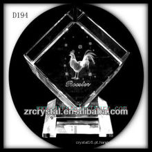 K9 Animal sinais Laser galo dentro de cristal