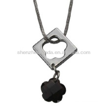 Hollow out flower rhinestone stainless steel never fade fashion the women necklace pendants jewellery