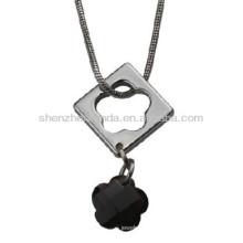 Aro para fora o rhinestone da flor o aço inoxidável nunca desvanece-se a forma as mulheres colar a jóia dos pendentes