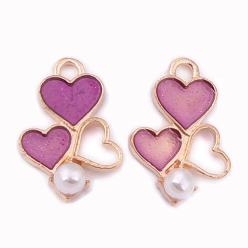 Rose Golden Plated Heart Charms