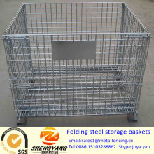 Hot sale 0.15-1.56m3 volume forklift available foods large transport containers 4 wheels removable folding steel storage baskets