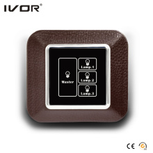 3 Gangs Interruptor de iluminación Panel táctil con marco de contorno de cuero Master Control (AXL-LE-L3M)
