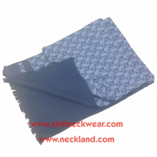 Novo design duplo lado tela de impressão e escovado 100% lenço de seda homens