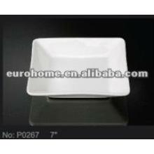 small dishes square deep white porcelain ceramic plates P0267