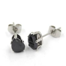 Black Heart CZ Stainless Steel Stud Fashion Jewelry Earrings