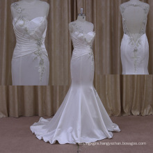 Shimmering Floor-Length Train Sheath Satin Sleeveless Wedding Dress