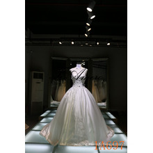 Ball Gown Beaded Sleeveless Wedding Dress with Lace illusion Neckline