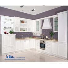 Pole blanco L forma de gabinete de cocina de PVC