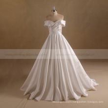 Newest Pleated Off Shoulder Satin Wedding Dress 2017