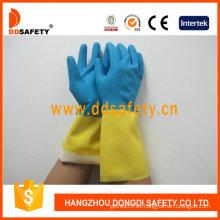 Guantes de cocina de látex / neopreno azules y amarillos (DHL214)