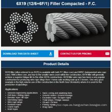 Ascensor / Excavadora / Pesca / Polipasto / grúa / Cable compactado de perforación 6 * 19FKFC