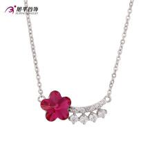 Moda de lujo Ruby Flower CZ Crystal Rhodium Colgante de joyería de color collar-Xn4786