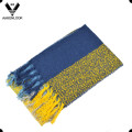 High Fashion Checked Loop Yarn Scarf with Fringes