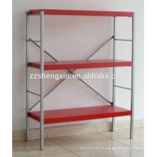 Rangement en métal simple en métal rouge Trois couches pour le placement