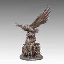 Estatua De Latón Animal De Gran Tercel / Escultura De Jardín De Bronce Eagle Tpls-103