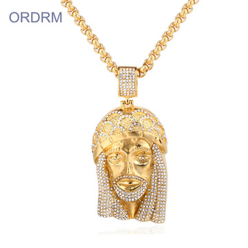 Naszyjnik Iced Out Hip Hop Gold Jesus Piece