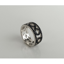 925 sterling silver round hollow design accessory ring women's engraving ring zirconia ring