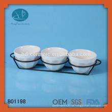 Weiße Keramik-Schüssel-Set, kundenspezifische Design Keramik Snack Schüssel, Restaurant verwendet Keramik Schüssel Set