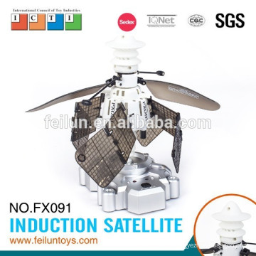 Creative infrared controlled intelligent sensing satellite small rc led flying toy