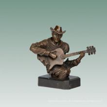 Büsten Messing Statue Gitarrist Dekoration Bronze Skulptur Tpy-763