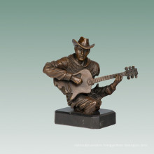 Busts Brass Statue Guitarist Decoration Bronze Sculpture Tpy-763