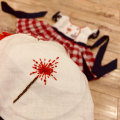 New Design Clothing Sets Hand-Embroidered Red Plaid