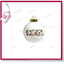Sublimation Printed Ceramic Round Chirstmas Bauble for Gifts