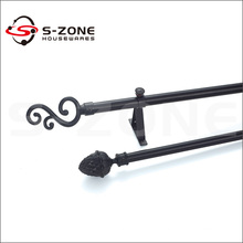 Wrought iron curtain rod set for room decoration