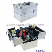 caja de herramientas de aluminio fuerte 2014 con 4 bandejas de plástico y compartimientos ajustables en la parte inferior caso de fabricante de China