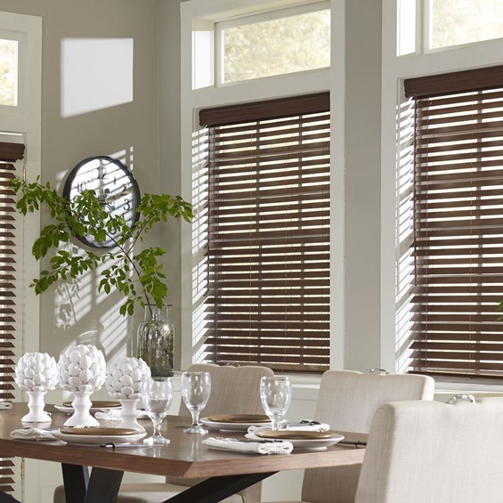 Motorized faux wood blinds