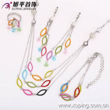 62539 Newest Fashion Elegant CZ Diamond Rhodium Jewelry Set for Women