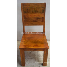 Solid Wooden Restaurant Chair Brown Antique Color