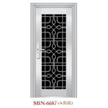 Porta de aço inoxidável Porta de entrada de metal de vidro temperado (SBN-6687)