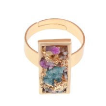 18k Color oro Compromiso natural Rectángulo Drusy Crystal Anillos