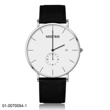business style watch date frame with leather strap
