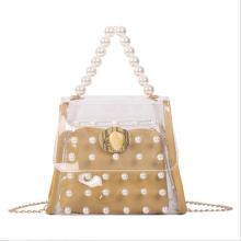 Luxury Transparent Jelly Ladies Purses Hand bag Pearl handle Tote Golden Chain Women PVC Crossbody Bag