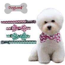 Atacado Pet Acessórios Puppy Moda Cotton Nylon Dog Leash E Collar