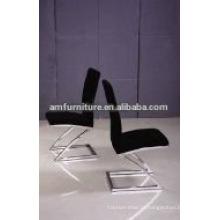 Cadeira de jantar de pano preto com pernas de aço inoxidável
