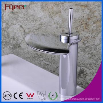 Fyeer cascada Crative en forma de abanico de un solo toque grifo mezclador de agua grifo lavabo cuenca del baño