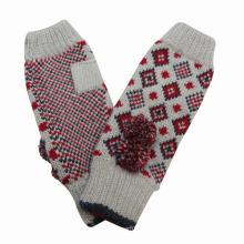 Леди мода длинные манжеты акрил трикотажные зимние теплые перчатки (YKY5419)