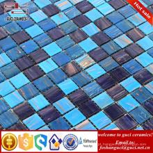 Linha misturada azul do ouro da fábrica de China quente - telha de assoalho da telha da parede do mosaico do derretimento