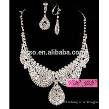 Vente chaude mariage cristal de diamant ensemble de collier design