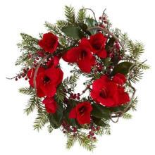 24 po. Grande couronne d'amaryllis avec de la soie Rouge Grandes fleurs non allumées (MY310.245.00)