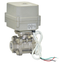 3 Pieces Electric Flow Control Valve Stainless Steel Ball Valve with CE (A100-T15-s2-C)