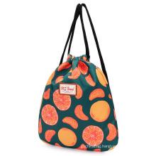 Cheap fashion printed polyester women drawstring backpack bag with custom logo