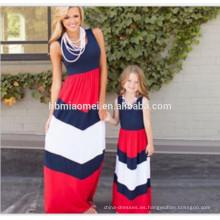 2017 verano ropa de algodón de la familia sleevless patchwork chevron stripe slim dress mami y yo maxi vestido al por mayor