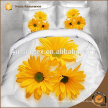 yellow sunflower white background 3D printed bedding set